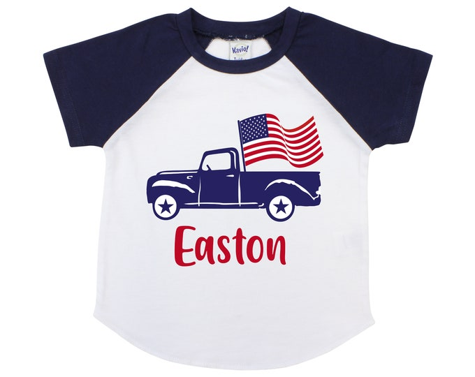 Memorial Day Boy Truck Shirt with American Flag Personalized Old Blue Truck Fourth of July 4th of July Boy Shirt Name Monogram Red Blue
