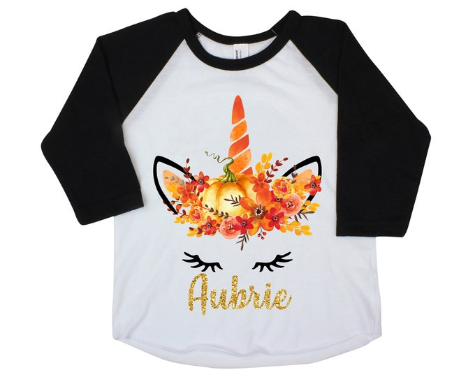 Fall Pumpkin Unicorn Face Shirt Glitter Name Personalized Watercolor Floral Girl Shirt Orange Black Gold Glitter Name Halloween Thanksgiving