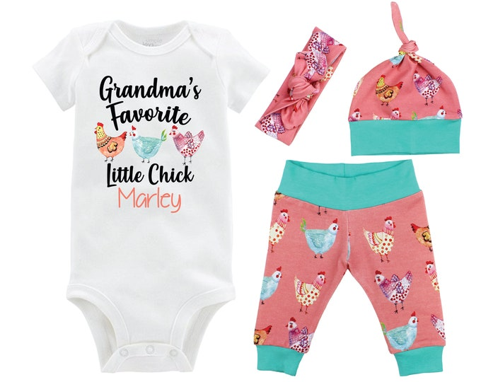 Grandma's Little Chick Baby Girl Outfit Chicken Baby Outfit Going Home Personalized Yoga Leggings Knot Hat Headband MaMa's MiMi's Nana's