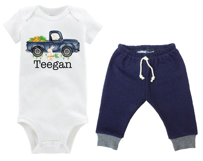 Boy Easter Outfit Personalized Baby Easter Bunny Truck Carrots Going Home Outfit Boy Jeggings Navy Gray Boy Baby Gift