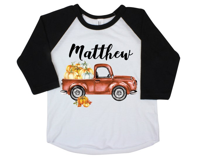 Boy Pumpkin Truck Shirt Personalized Raglan Fall Boy Shirt Pumpkin Patch Shirt Halloween Shirt Boy Truck Shirt Old Rust Orange Truck Fall