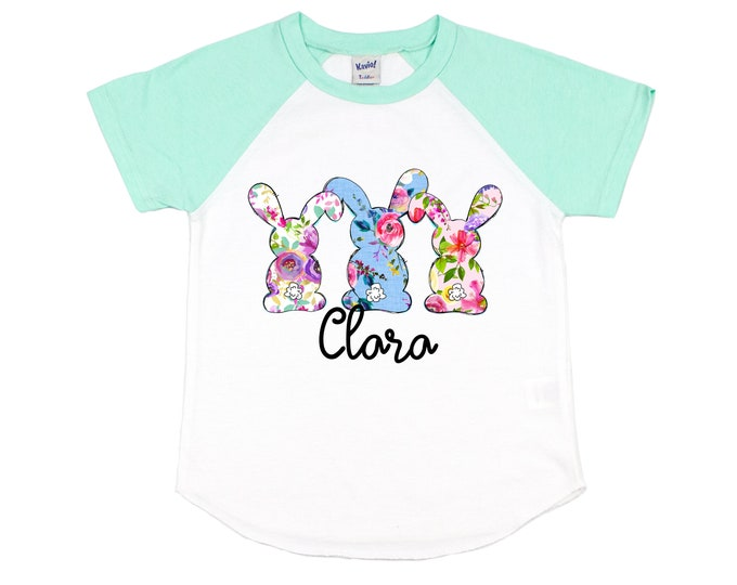 Girl Easter Shirt Floral Bunny Raglan Blue Purple Pink Floral Personalized Girl's Easter Short Sleeve Mint Raglan Spring Teen Youth Baby