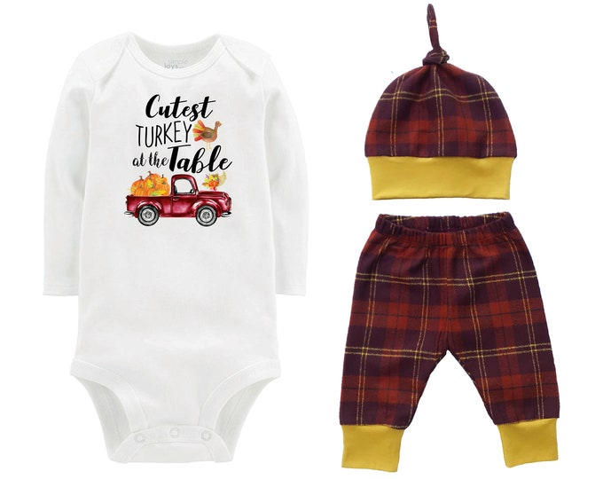Boy Cutest Turkey at the Table Thanksgiving Outfit Mustard Orange Fall Brown Rust Plaid Pumpkin Bodysuit Turkey Baby Gift Top Knot Hat Boy
