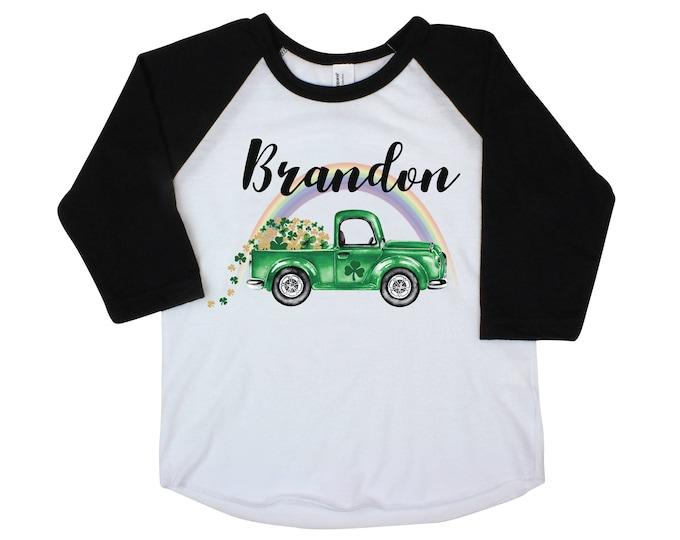 Boy St Patrick's Day Shirt Onesie Green Truck Raglan Shamrock Truck Shirt St. Patty's Day Boy Baby Shirt Shamrock Green Personalized