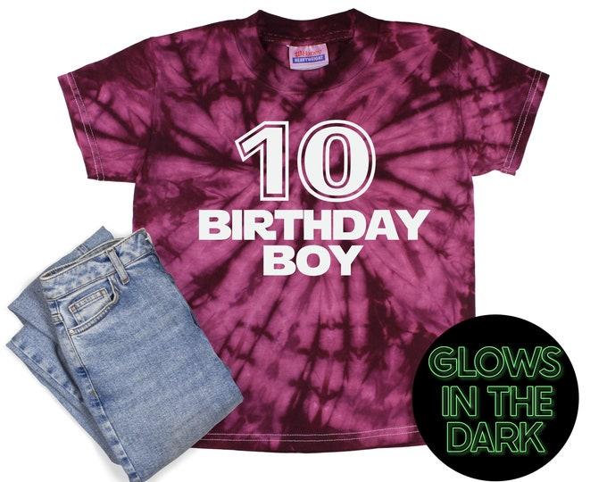 Birthday Boy Tie Dye Glow in the Dark Shirt Maroon Spider Star Wars Font Age Birthday Party Shirt Boy Birthday Year Unisex T-Shirt