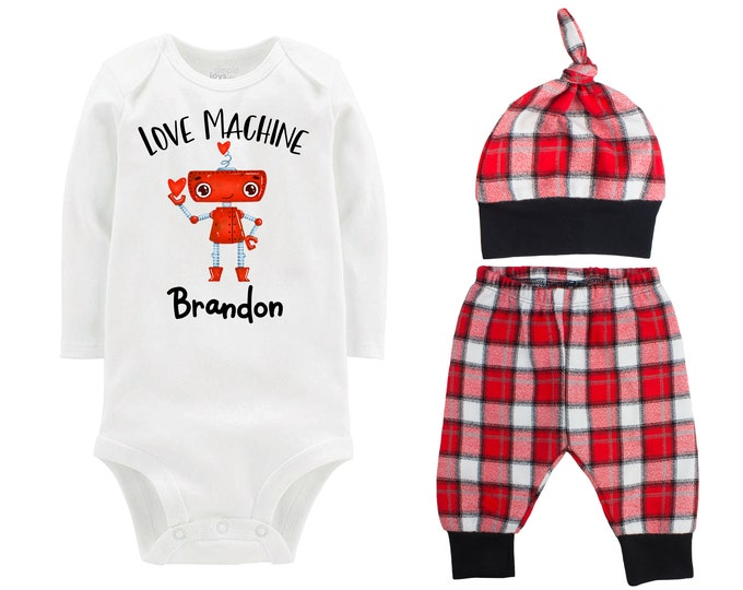 Baby Boy Valentine's Day Robot Love Machine Personalized Outfit Boy Valentine's Day Bodysuit Buffalo Plaid Flannel Pants Knot Hat