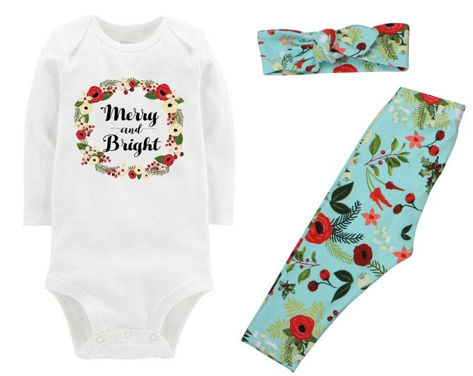 46d75854026e Merry and Bright Baby Outfit Aqua Christmas Floral Christmas Leggings  Headband Holly Berries Outfit Bodysuit Knot