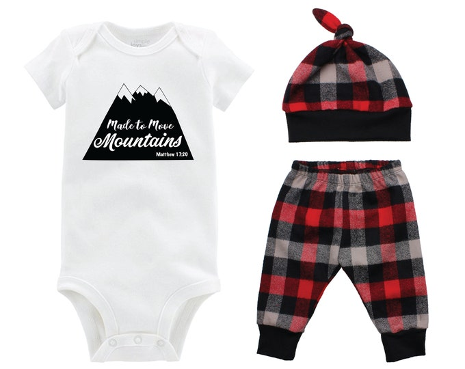 Boy Coming Home Outfit Going Home Outfit Made to Move Mountains Red Buffalo Plaid Pants Winter Baby Outfit Fall Baby Outfit Buffalo Check