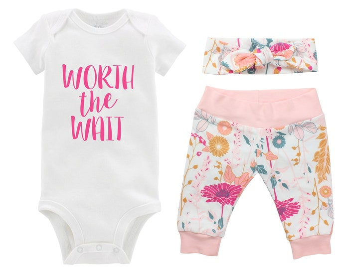 Worth the Wait Newborn Going Home Outfit Baby Infant Set Pink Floral Yoga Leggings Knot Headband Pink White Flower Infant Gift Set