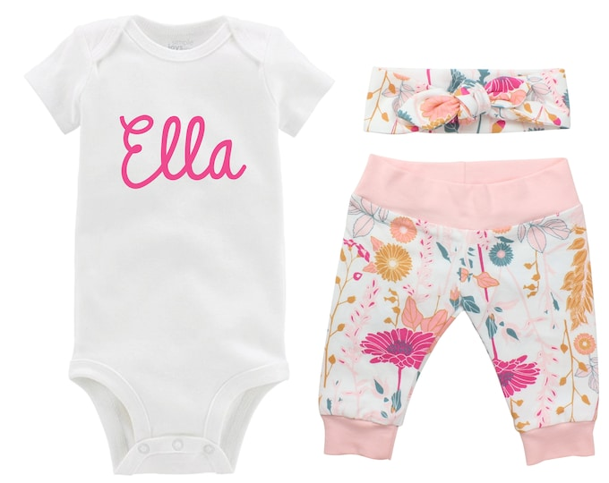 Personalized Newborn Going Home Outfit Girl Baby Name Set Pink Floral Yoga Leggings Knot Headband Pink WhiteFlower Infant Gift Set Monogram