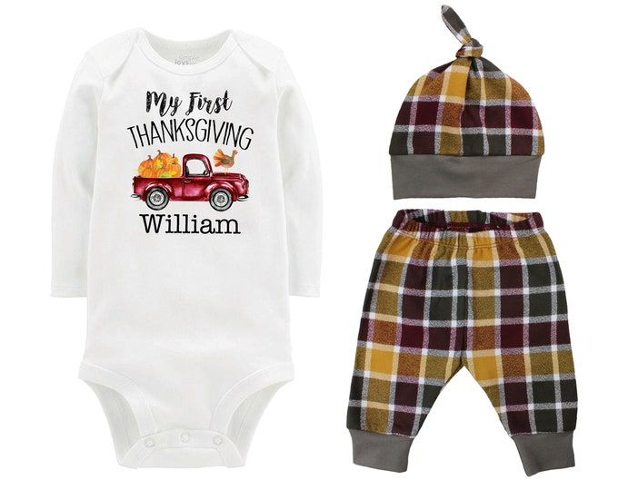 First Thanksgiving Truck Turkey Fall Bodysuit Shirt Outfit Bodysuit Pumpkin Plaid Maroon Mustard Green Flannel Pants Baby Gift Top Knot Hat