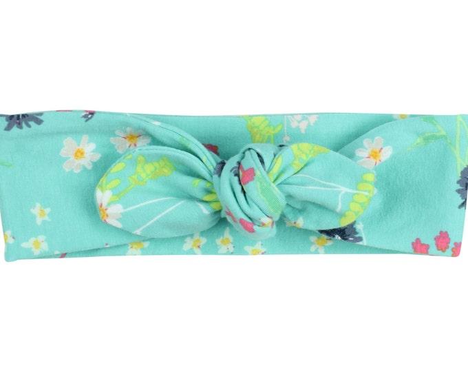 Aqua Blue Floral Baby Top Knot Headband Blue Floral Adult Knot Headband Floral Baby Headwrap Adult Headwrap Knotted Headband Floral Headwrap