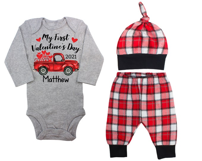 My First Valentine's Day 2021 Truck Personalized Bodysuit Outfit Boy Valentines Day Bodysuit Hearts Vintage TruckBuffalo Plaid Flannel Pants