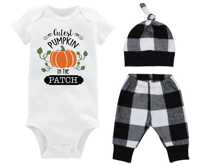 Cutest Pumpkin in the Patch Boy Bodysuit White and Black Buffalo Plaid Pants Fall Baby Outfit Halloween Buffalo Plaid Fall Baby Boy Outfit