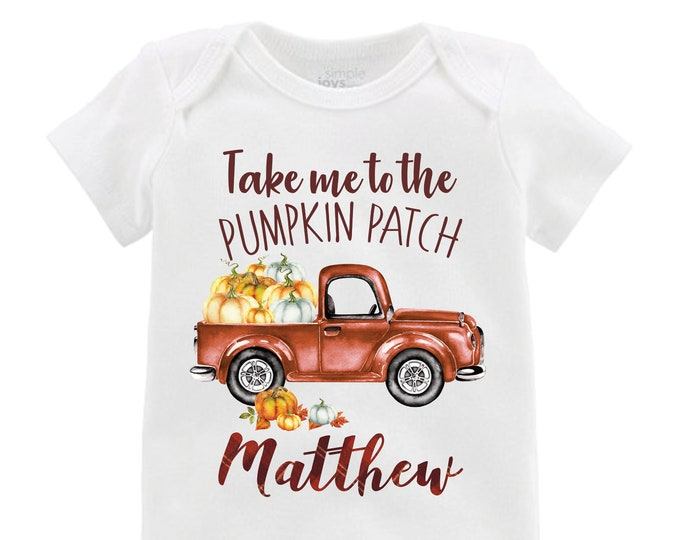 Boy Pumpkin Truck Shirt Personalized Plaid Fall Boy Shirt Pumpkin Patch Shirt Halloween Shirt Boy Truck Shirt Old Truck Raglan Shirt Fall
