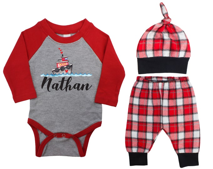 Baby Boy Valentine's Day Tug Boat Personalized Raglan Outfit Boy Valentines Day Love Hearts Bodysuit Baby Boy Buffalo Plaid Flannel Pants