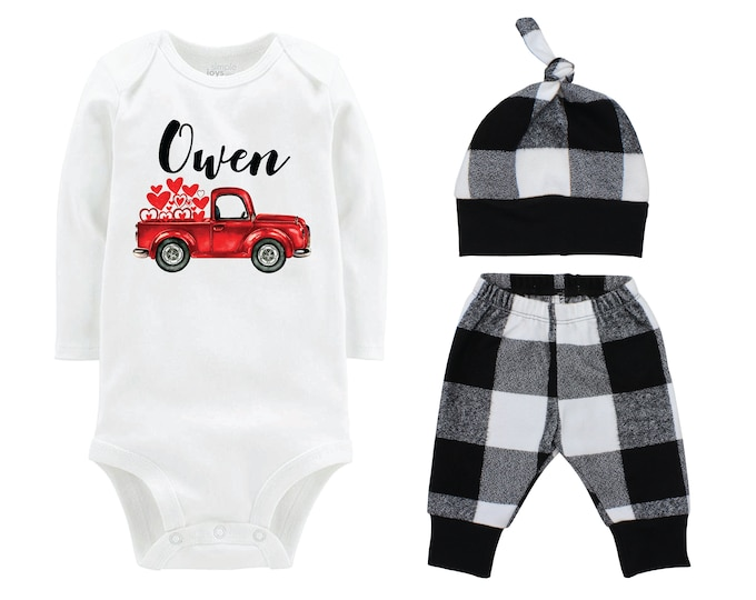 Boy Valentine's Day Outfit Personalized Old Red Truck White Black Buffalo Plaid Pants Hat Boyish Valentine Bodysuit Truck with Hearts