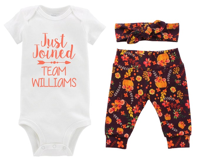 Fall Just Joined Team Personalized Going Home Outfit Wine Orange Green Red Floral Yoga Leggings Headband Infant Outfit Last Name