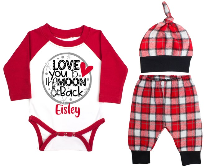 Baby Boy Valentine's Day Moon Personalized Raglan Outfit Valentine Love You To The Moon & Back Bodysuit Baby Boy Buffalo Plaid Flannel Pants