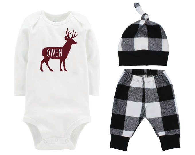 Deer Fall Personalized Outfit Plaid Buck Stag Forest Silhouette Maroon Black And White Flannel Pants Baby Bodysuit Shirt Gift Top Knot Hat