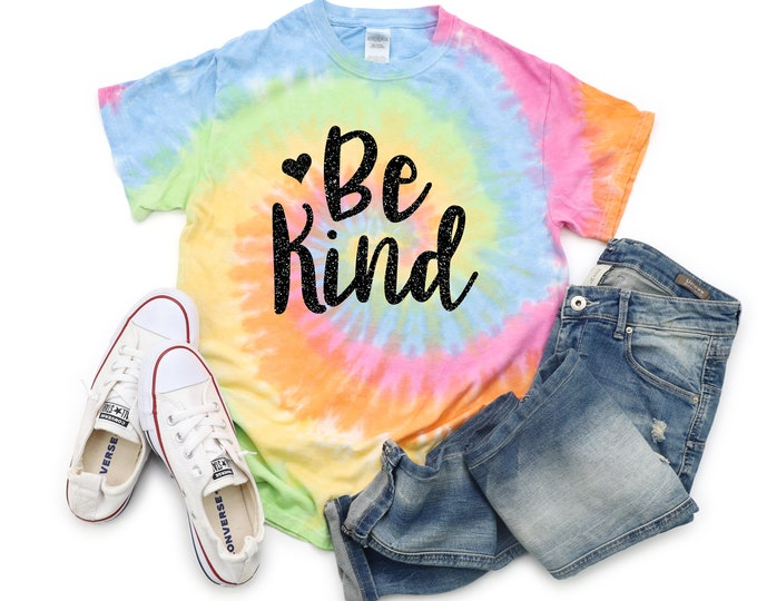 Be Kind Girl Tie Dye Shirt Galaxy Bright Black Glitter Vinyl Birthday Girl Shirt Inspirational Shirt Girl Pastel Tie Dye Motivational Shirt