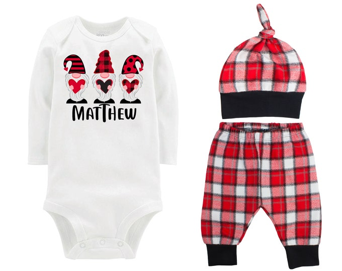 Baby Boy Valentine's Day Heart Plaid Gnomes Personalized Outfit Valentines Day Gnome Bodysuit Baby Boy Buffalo Plaid Flannel Pants