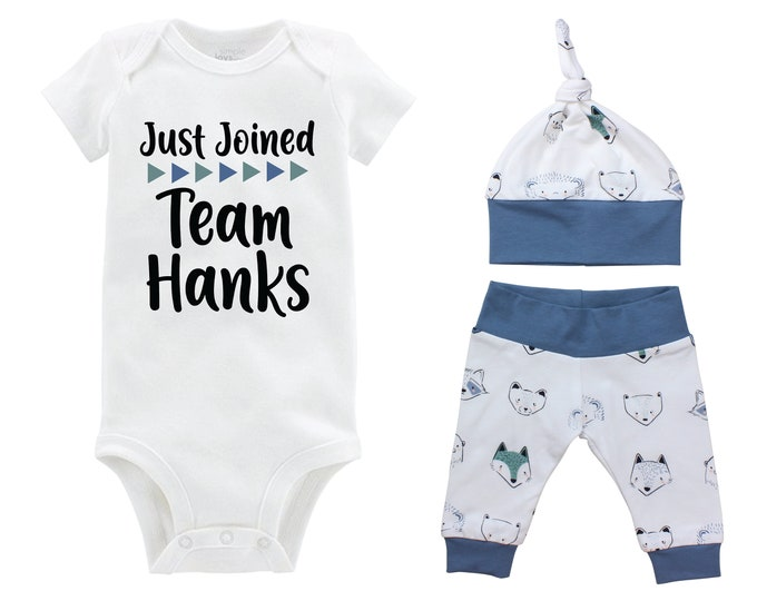 Boy Just Joined Team Last Name Personalized Coming Home Outfit Animal Faces Bear Fox Infant Gift Going Home Baby Shower Blue Black Teal