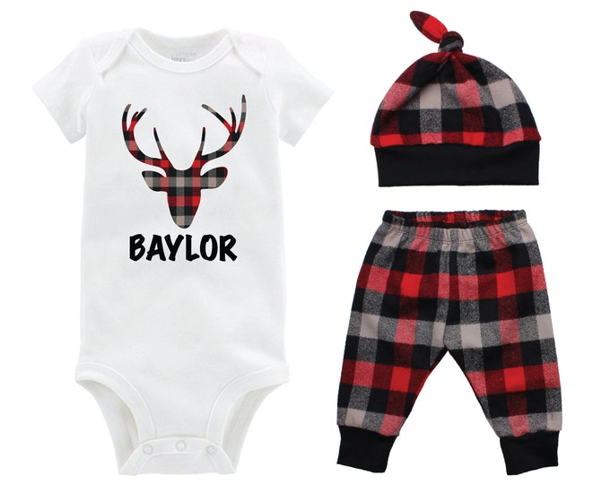 Boy Coming Home Outfit Going Home Outfit Buffalo Plaid Pants Deer Personalized Winter Baby Outfit Red Black Buffalo Plaid Buck Deer Plaid
