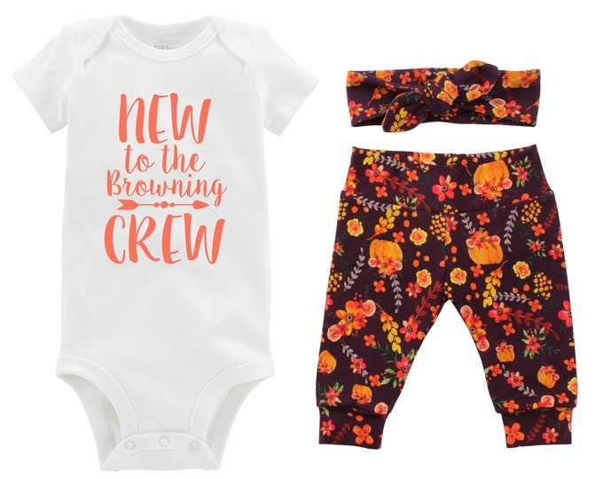 Fall New to the Crew Personalized Going Home Outfit Wine Watercolor Floral Yoga Leggings Headband Infant Outfit Floral Pumpkin Last Name