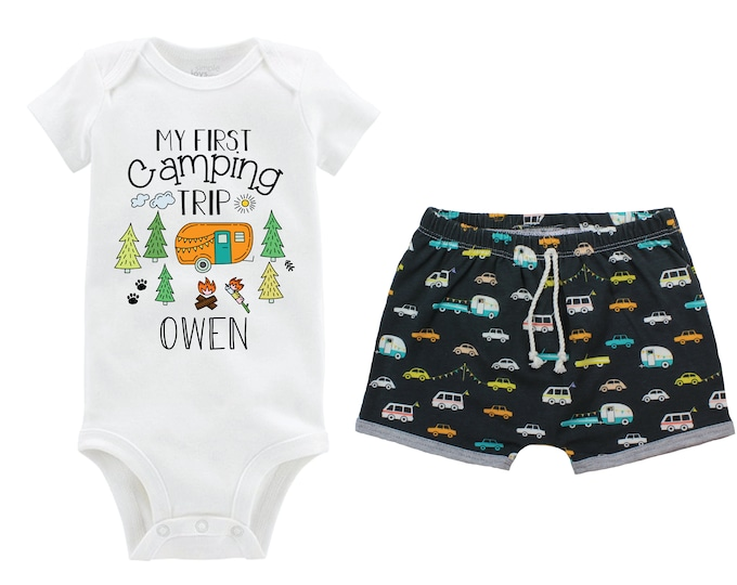 Boy My First Camping Trip Personalized Camping Outfit Baby Toddler Camper Shorts Orange Teal Gray Outdoors Campfire Trees Campers Cars