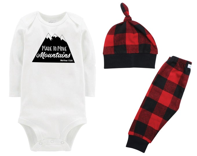 Made To Move Mountains Coming Home Outfit Boy Christmas Scripture Bodysuit Faith Buffalo Flannel Pants Winter Boy Red Black Buffalo Plaid