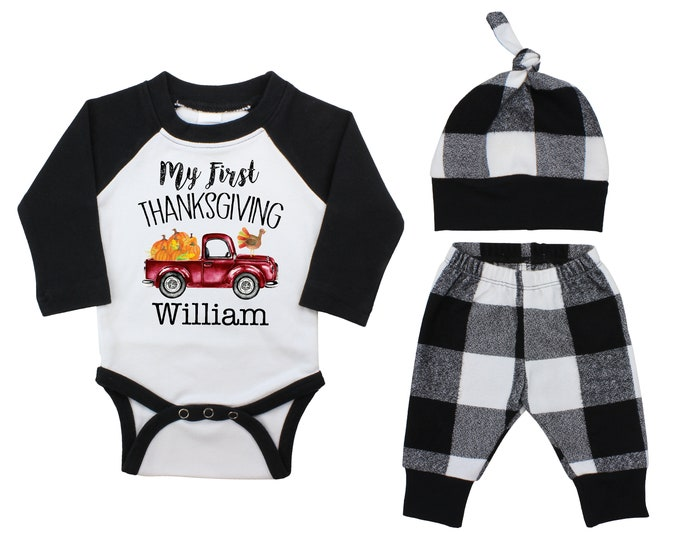 Boy Personalized My First Thanksgiving Outfit Fall Baby Raglan Outfit Fall Pants Knot Hat Pumpkins Black White Plaid Baby Bodysuit Raglan