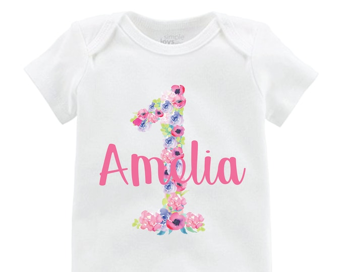 Girl Birthday Shirt Onesie Personalized Flutter Sleeve Floral Black Raglan