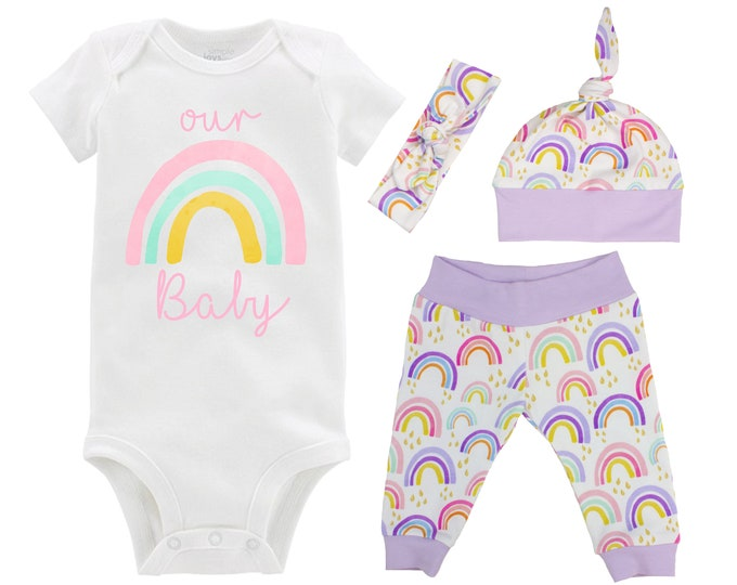 Our Rainbow Baby Girl Coming Home Outfit Pastel Watercolor Rainbow Yoga Leggings Knot Hat Headband Infertility Miscarriage Infant Loss