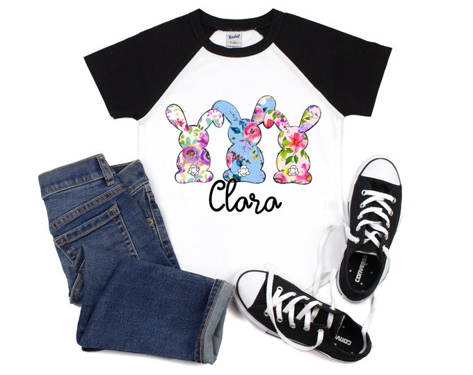 Girl Easter Shirt Floral Bunny Raglan Blue Purple Pink Floral Personalized Girl's Easter Short Sleeve Black Raglan Spring Teen Youth Baby