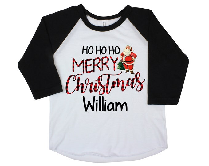 Ho Ho Ho Merry Christmas Boy or Girl Shirt Unisex Christmas Shirt Personalized Buffalo Plaid Raglan Vintage Santa Claus Shirt Old Fashion