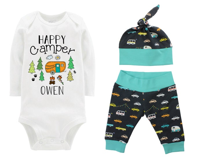 Happy Camper Personalized Boy Going Home Set Bodysuit Infant Gift Set Camping Boy Coming Home Outfit Camper Baby Shower Gift