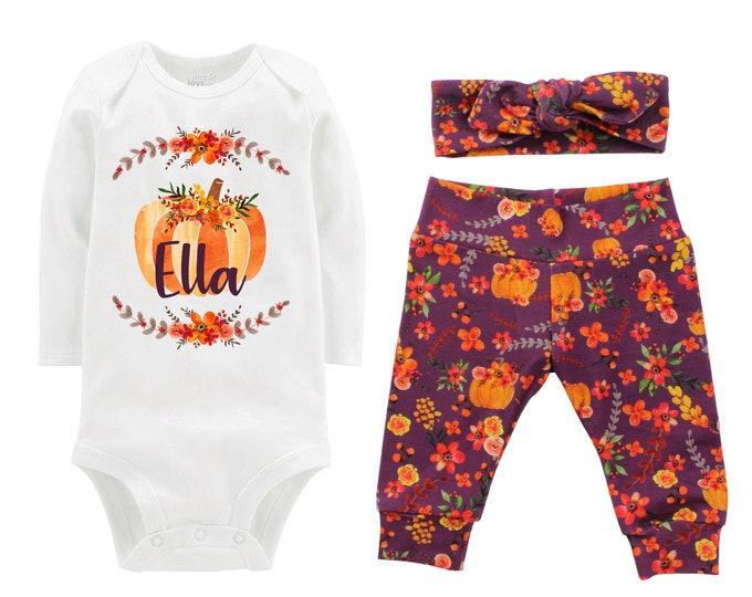 Girl Fall Pumpkin Outfit Personalized Mauve Watercolor Floral Yoga Leggings Headband Infant Fall Outfit Floral Pumpkin Orange Name