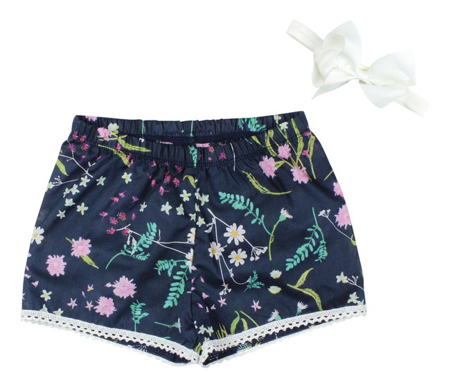 Girls Lightweight Shorts Baby Shorts Lace Trimmed Shorts Baby Bow Voile Ribbon Floral Print Child American Made Handmade Girl Baby Clothing