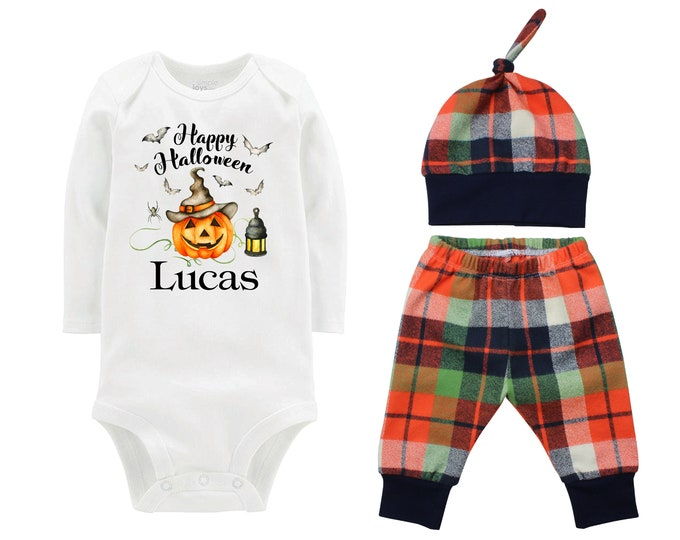 Happy Halloween Jack-O-Lantern Personalized Outfit Fall Baby Outfit Fall Plaid Pants Knot Hat Orange Blue Pants Boyish Halloween Onesie