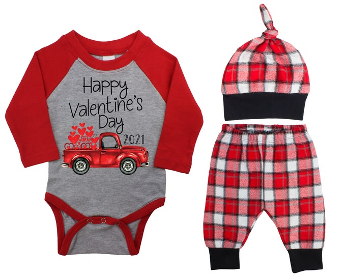 Happy Valentine's Day 2021 Truck Personalized Raglan Outfit Boy Valentines Day Bodysuit Hearts Vintage Truck Buffalo Plaid Flannel Pants