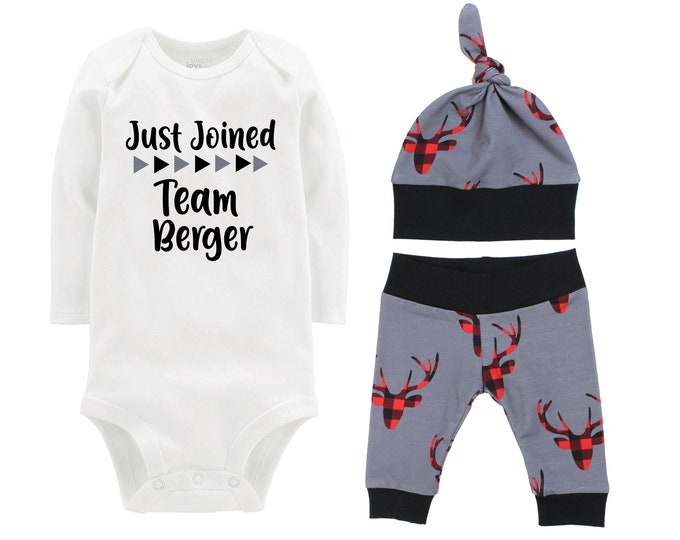 Boy Just Joined Team Last Name Personalized Coming Home Outfit Bodysuit Infant Gift Buffalo Plaid Deer Boy Going Home Set Baby Shower Gift