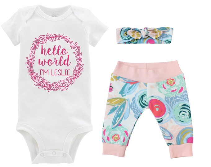 Girl Going Home Outfit Hello World I'm Newborn Baby Infant Set Floral Yoga Leggings Headband Infertility Bodysuit Infant Gift Set