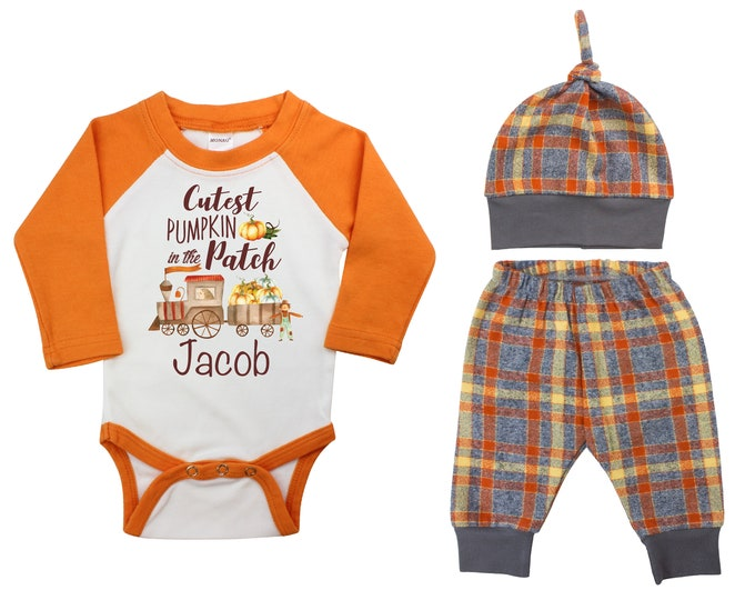 Cutest Pumpkin In The Patch Train In The Patch Fall Outfit Fall Plaid Pants Knot Hat Pumpkins Vintage Truck Orange Gray Orange Baby Raglan