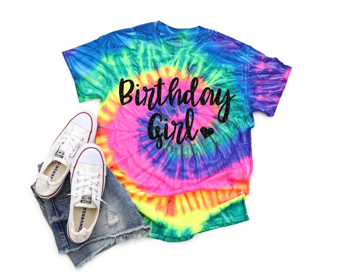 Birthday Girl Neon Tie Dye Shirt Galaxy Bright Black Glitter Vinyl Birthday Girl Shirt Birthday Party Shirt Girl Tie Dye Birthday Shirt