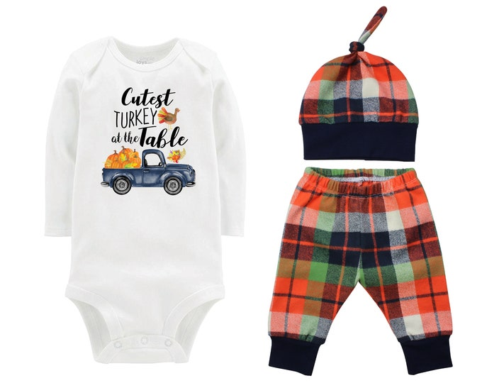 Boy Cutest Turkey At The Table Fall Truck Shirt Outfit Bodysuit Pumpkin Plaid Orange Blue Plaid Flannel Pants Baby Gift Top Knot Hat