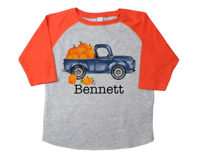Old Pumpkin Truck Shirt Gray Orange Raglan Personalized Boy Pumpkin Patch Shirt Boyish Fall Shirt Old Blue Truck Vintage Truck Shirt