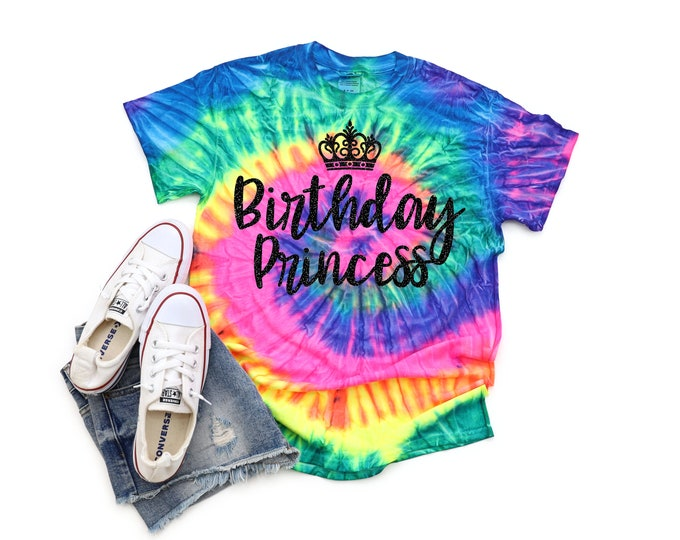 Birthday Princess Tie Dye Shirt Bright Black Glitter Vinyl Princess Crown Birthday Girl Shirt Party Shirt Girl Neon Tie Dye Birthday Shirt