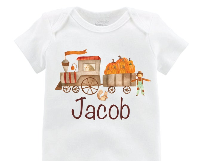 Boy Pumpkin Train Shirt Personalized Plaid Fall Boy Shirt Pumpkin Patch Shirt Halloween Shirt Boy Train Shirt Woodland Raglan Shirt Fall