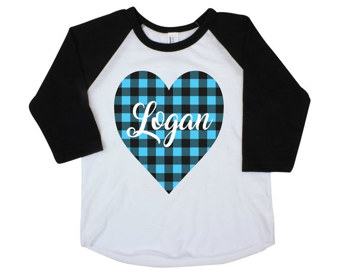 Boy Valentine Raglan Shirt Onesie Buffalo Blue Plaid Heart Shirt Valentine's Day Boy Shirt Boy Baby Onesie Boy Bodysuit Personalized Boy